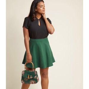 NWOT ModCloth Skater Skirt, Pine Forest Green, XL
